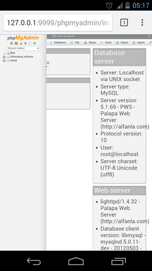 Palapa Web Server - Lighttpd + PHP + MySQL + MSMTP for Android